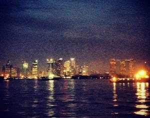 A view of Singapore from the boat one night.  It's no view from the top of MBS, but I'll take it.