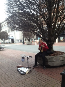 An animated busker in downtown Victoria.