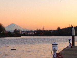 View of Mt. Rainer today form the shipyard.  Who knew there were mountains past all those clouds and the rain?!