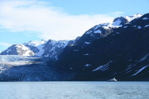 Home sweet, awkward home.  Not so impressive when anchored next to a glacier.